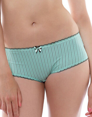 Fantasie Lois Brief Knickers Size XS 8 10 Mint Green Chocolate Stripe 2975 New