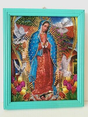 Authentic MEXICAN Virgin of Guadalupe Glittery Retablo Painting Icons Kitsch #10