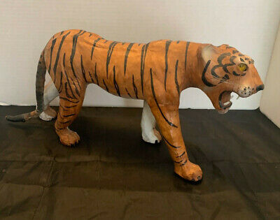 "Tiger King Fan Leather Wrapped Tiger Figure Statue 16"" Long Great detail"