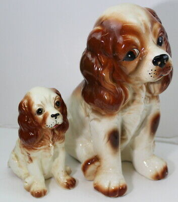 Brittany Spaniel Dogs Ceramic figurines Vintage Moma & Baby