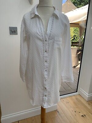 Love To Lounge White Embroidered Nightshirt Medium Approx Uk10-12 Primark