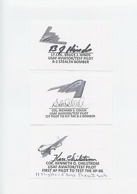 Us Early Test Pilot Signed Index Card Lot (5) Hinds,Couch,Chilstrom