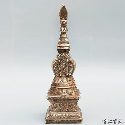 Collectable China Old Miao Silver Hand-Carved Kwan-Yin Pagoda Buddhism Statue