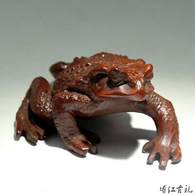 Collectable China Old Boxwood Hand-Carved Toad Moral Bring Wealth Decor Statue