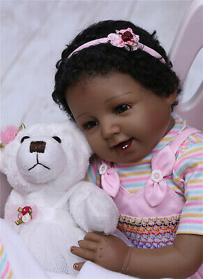Real Look Reborn Biracial Girls Black Dolls Silicone Baby Weighted Body Handmade
