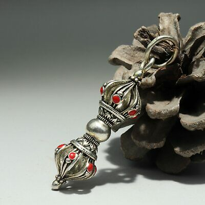Collect China Old Miao Silver Hand-Carved Sitsang Exorcism Tools Decor Pendant