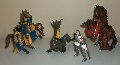Lot of Fantasy Medieval Figures - Horses, Knights, Dragon - Schleich & Papo