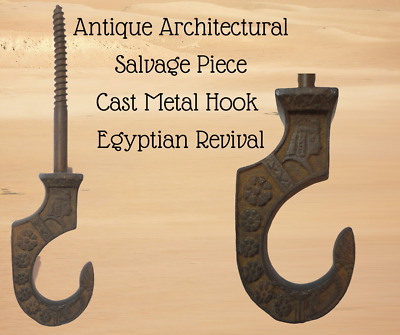 Antique Architectural Salvage Cast Metal Hook Embossed Egyptian Revival Style