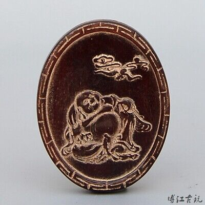 Collectable China Old 0x H0rn Hand-Carved Happy Buddha Moral Auspicious Pendant