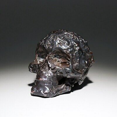 Collect China Old Red Copper Hand-Carved Vicious Skull Moral Exorcious Statue