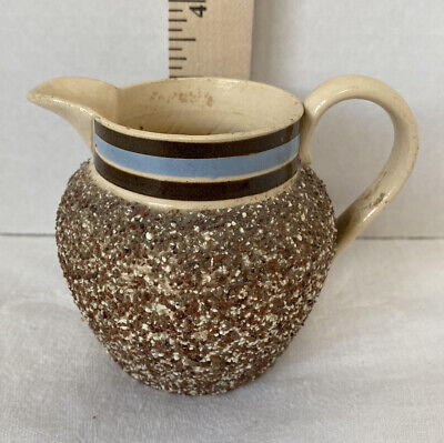 Antique Yellow Ware Sand Banded Encrusted English Pitcher