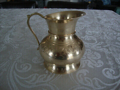 VINTAGE SOLID INDIA BRASS PITCHER / JUG / VASE with OVERALL ETCHED DESIGN & HAND