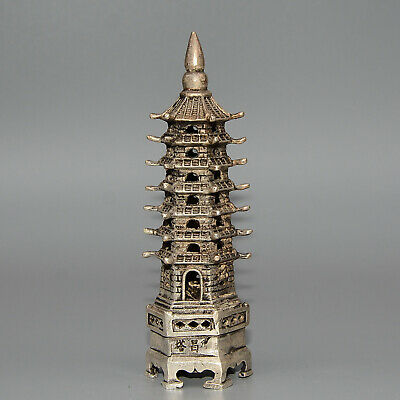 Collectable China Old Miao Silver Hand-Carved Unique Moral Exorcist Tower Statue