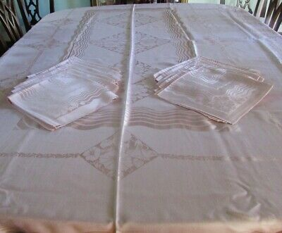 "VINTAGE UNUSED DAMASK PINK TABLECLOTH 62"" x 98"" & 12 NAPKINS EX-CONDITION"