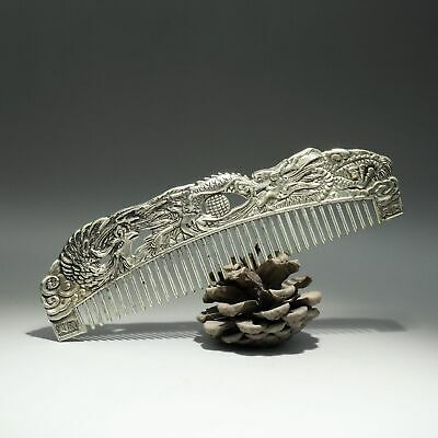 Collectable Old Miao Silver Hand-Carved Myth Dragon & Phoenix Auspicious Comb