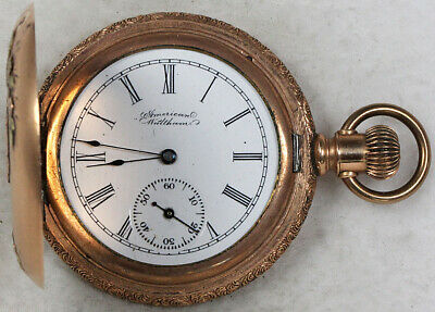 American Waltham Fahy's Monarch 14k Case Pocket Watch 6 Size Gold-Filled Hunting