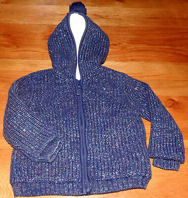 Bnwot - M&S Age 2-3 Years Girls Hooded Coat Cardigan With Fleece Lining