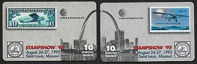 American Philatelic Society STAMPSSHOW '95 10 min PHONE CARDS TEST SET of 2