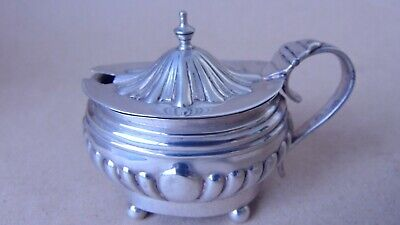 Beautiful Edwardian Sterling Silver Fluted Mustard Pot 1902, 76 Grams