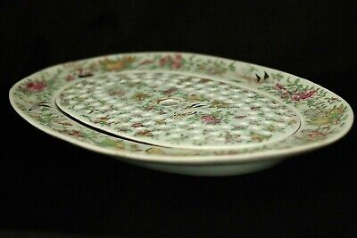 19th cent. Chinese Celadon-ground Famille Rose meat/fish platter strainer