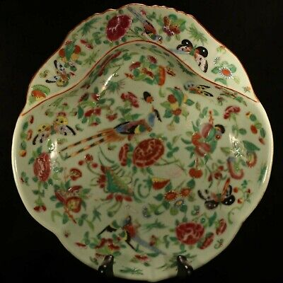 19th cent. Chinese export Celadon-ground Famille Rose shrimp dish