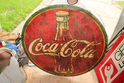 "Large Vintage 1930's Coca Cola Soda Pop Gas Station 45"" Metal Sign"