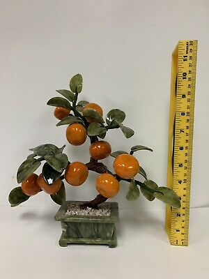 Oriental Asian Chinese Carved Jade Tangerine Tree Hand Made