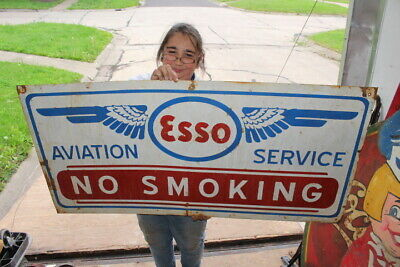 """Large Esso Aviation Service No Smoking Airplane Airport Gas Oil 48"""" Metal Sign"""