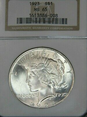 1923 Peace Dollar NGC MS65 Blast White Superb Frosty Luster Gorgeous PQ #G453