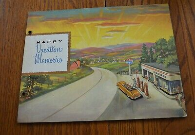1940's Standard Oil Gas Station Lithograph Cover Scrapbook Mounds Park St. Paul