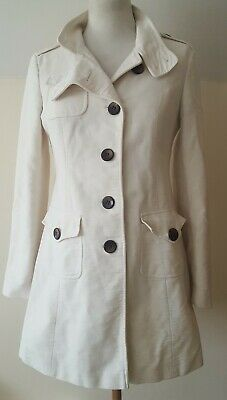 Next Women's Cream Button Up Front Collared Long Sleeve Coat Jacket Size 10