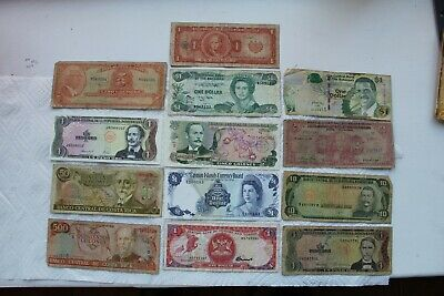 Central America Banknotes, 13 total (Cayman, Bah, Costa Rica, DOM, HAI,El S,T&T)