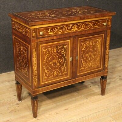 Cupboard Furniture Dresser Wooden Inlaid Antique Style Louis XVI Living Room
