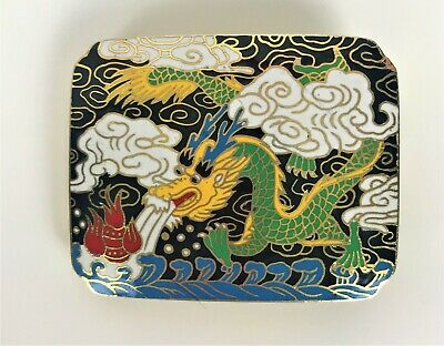 Vintage Chinese Cloisonne Enamel BREATHING DRAGON decorated belt buckle