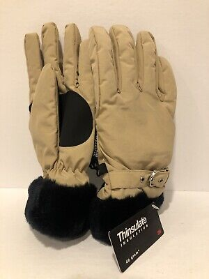 Thinsulate gloves insulation 40 gram 3M Black Tan Beige Fur Fleece Lined XL NEW