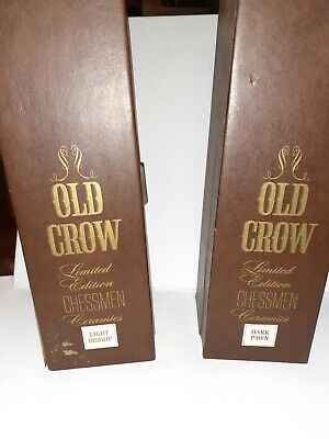 Old Crow 2 ceramic decanters Light Bishop and Dark Pawn limited edition