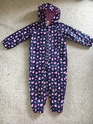 Girls Age 3-4 Blue Puddle Suit With Pink Hearts On From Miniclub