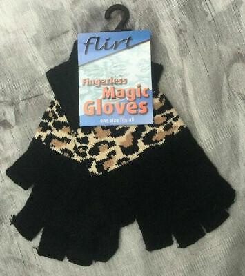 NEW Flirt BLACK with LEOPARD PRINT Fingerless Magic Gloves One size fits all