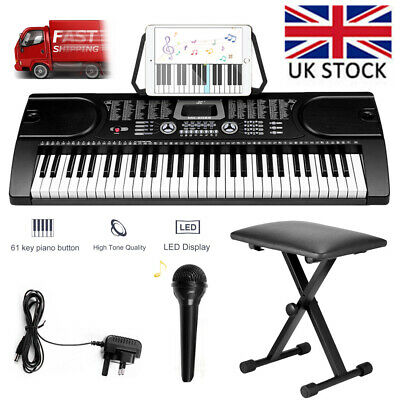 61 Key Full Size Digital Electronic Keyboard Kit Stand + Micphones and Stool