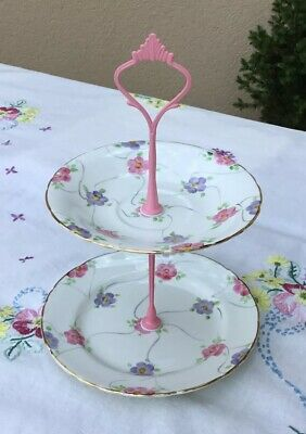 *Gorgeous Vintage Pink + Lilac Floral 🌸 Mini Candy Trinket Biscuit Cake Stand*