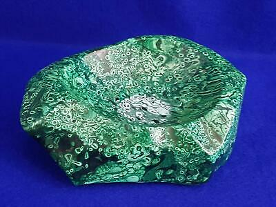 Marvellous Large Solid Polished Natural Malachite Coin Bowl w Tight Small Whorls