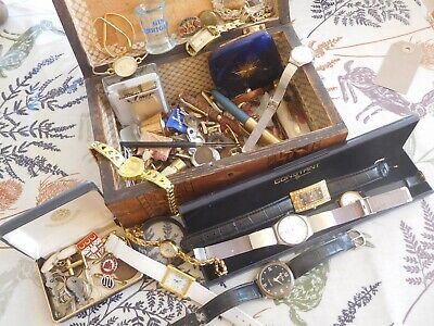 Lovely Job Lot Old Box full of Assorted Vintage Items Watches Badges etc