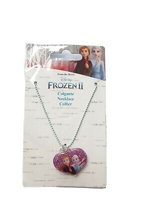 Disney Frozen II Necklace Anna Elsa Heart Blue with purple pink charm NEW