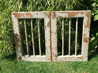 Vintage Indian Wooden Iron Hinged Window Jali Screen Architectural Salvage 1