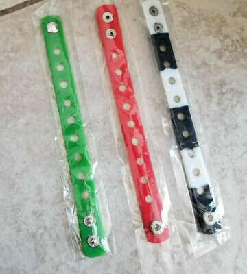3  X  Wristband Green/Red/Black And White For Shoe Charm Pvc Rubber 18 Cm