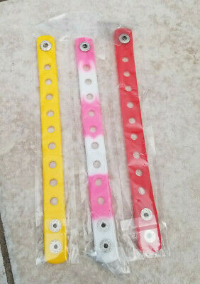3  X  Wristbands Yellow/Pink/Red For Shoe Charm Pvc Rubber 18 Cm