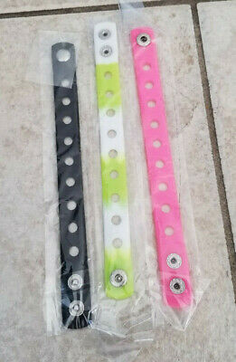 3  X  Wristbands Black/Green/Pink For Shoe Charm Pvc Rubber 18 Cm