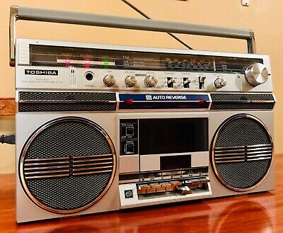 Classic Vintage 1980s Toshiba RT-170S Boombox Radio Cassette Clean Working AUX