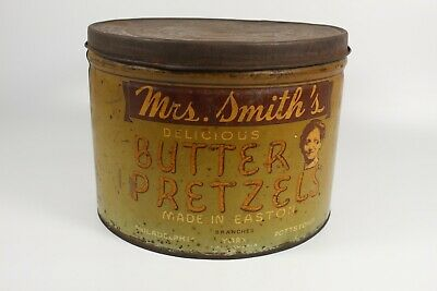 Vintage Mrs. Smith's Butter Pretzels Tin Can Pre 1940s Made In Easton, PA