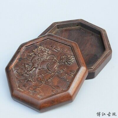 Collectable Old Boxwood Hand-Carved Myth Animal Kylin Delicate Eight Square Box